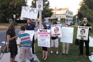 Protesters outside the Lebanon Public Library gathered to show support for running a Tor relay at the New Hampshire library