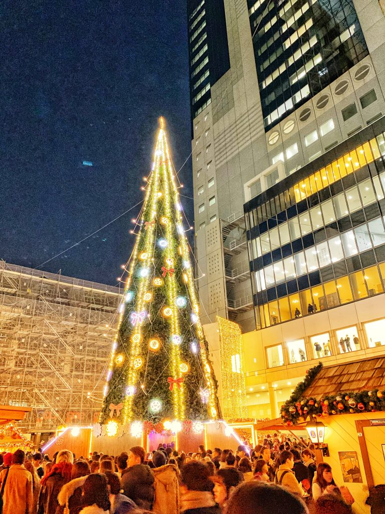 Giant Christmas tree at the center of the German Christmas Market