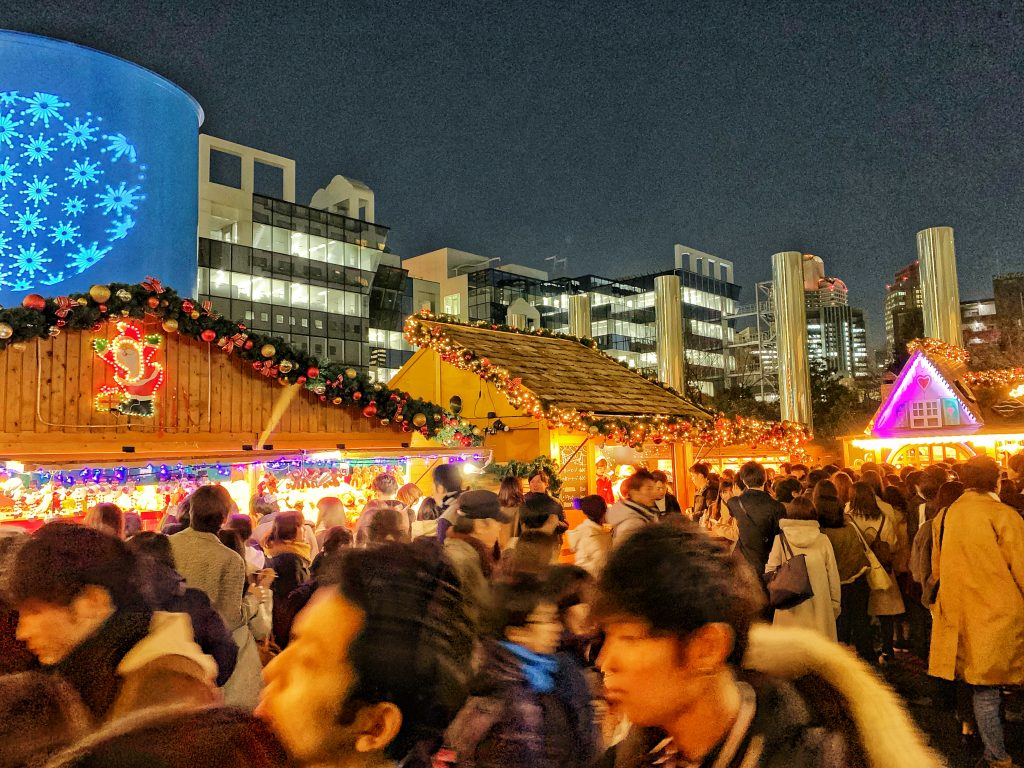 Big crowd at the Christmas market