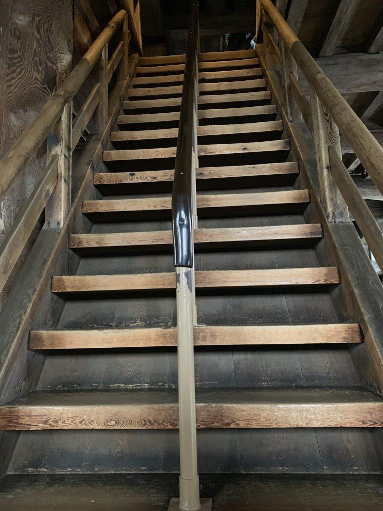 Steep staircase in Himeji Castle