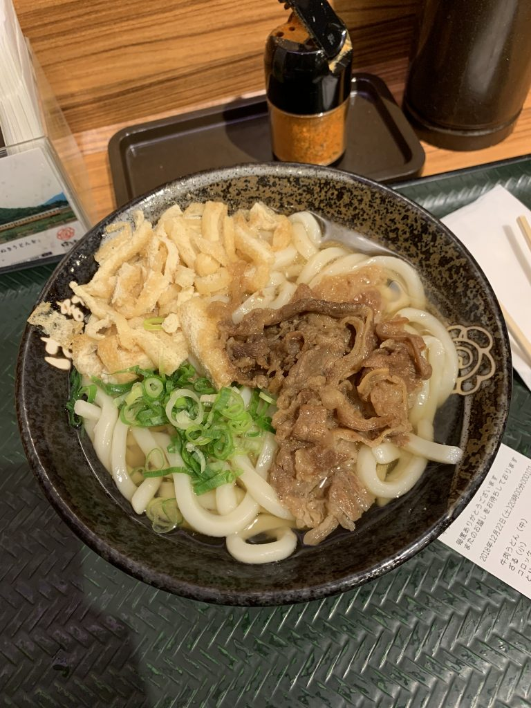Udon noodles with beef in a bowl
