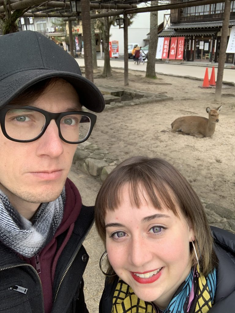 Shyla and Ryan selfienwith a deer
