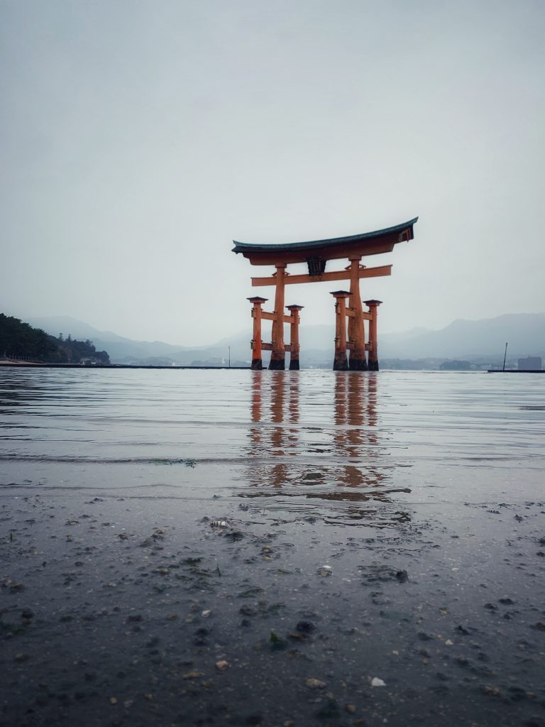 Itsukushima Shrine with water in