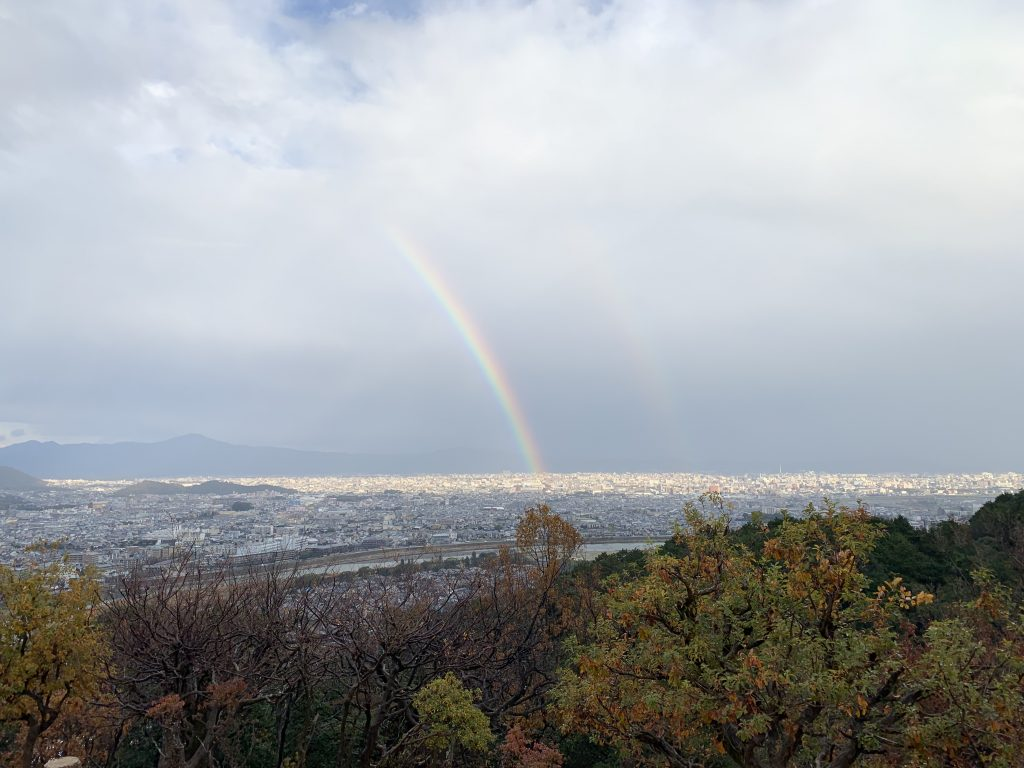 Double rainbow over Kyoto city!