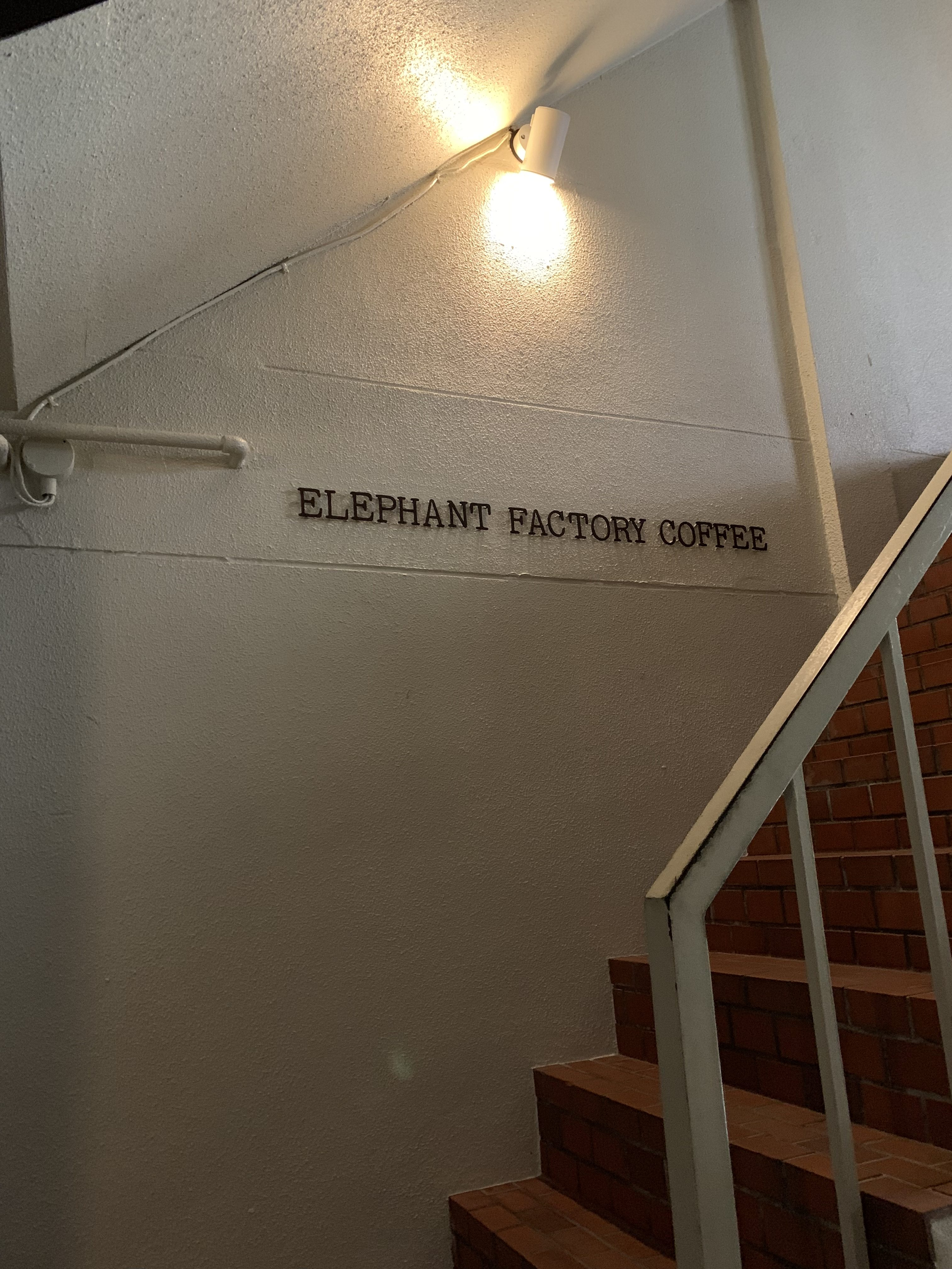 Elephant Factory Coffee black lettering on white wall