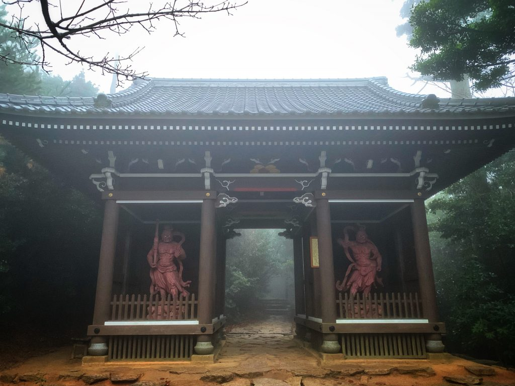Japanese shrine guarded by two entities